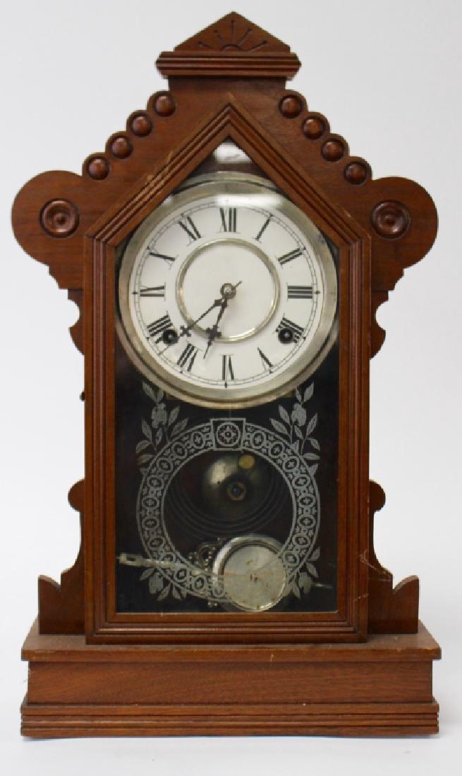 ANTIQUE WATERBURY WALNUT CASE KITCHEN CLOCK