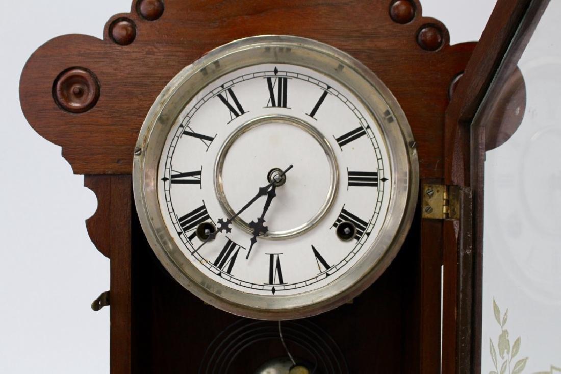 ANTIQUE WATERBURY WALNUT CASE KITCHEN CLOCK - 2