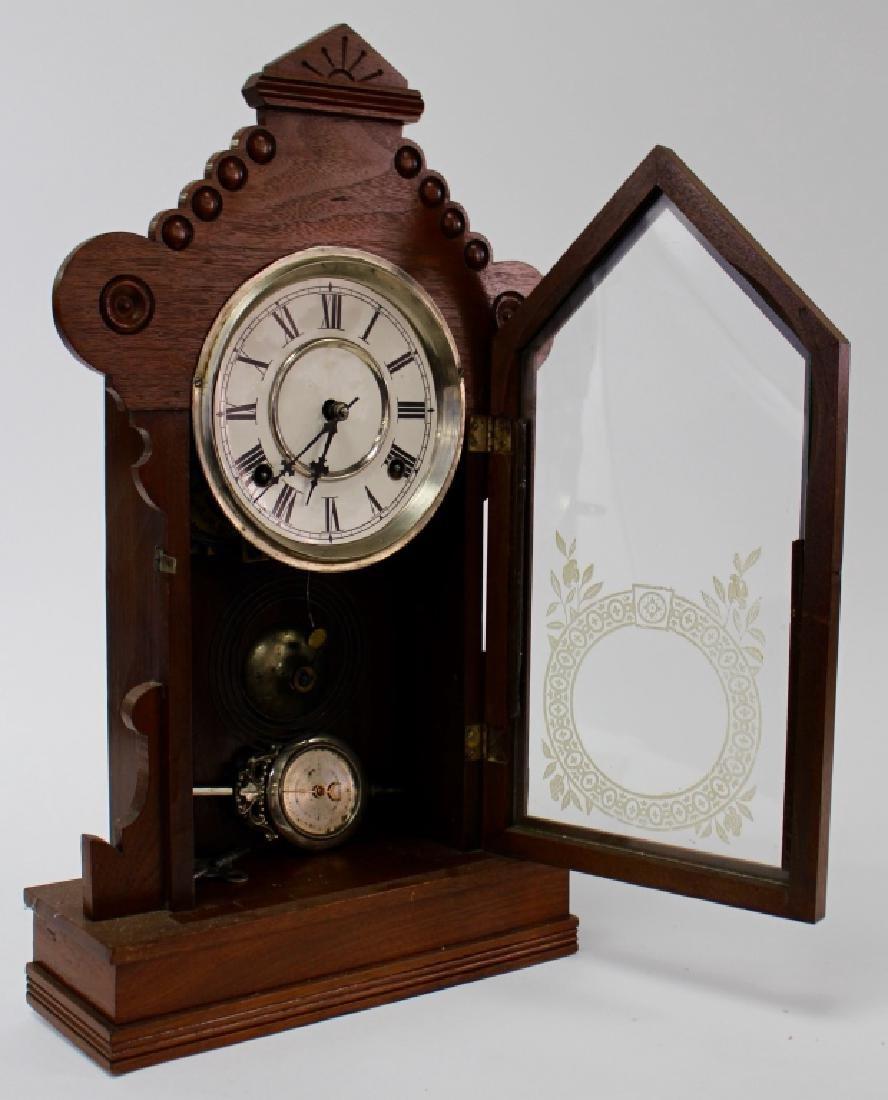 ANTIQUE WATERBURY WALNUT CASE KITCHEN CLOCK - 3