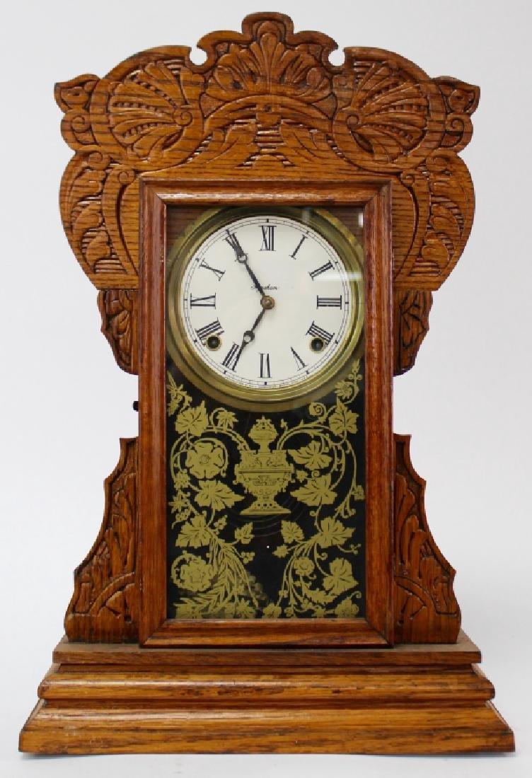 ANTIQUE E. INGRAHAM CARVED OAK GINGERBREAD CLOCK