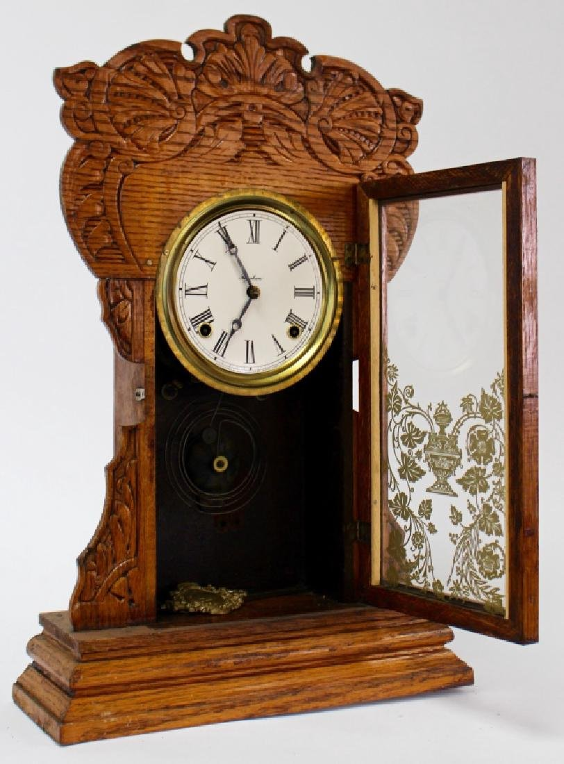ANTIQUE E. INGRAHAM CARVED OAK GINGERBREAD CLOCK - 2