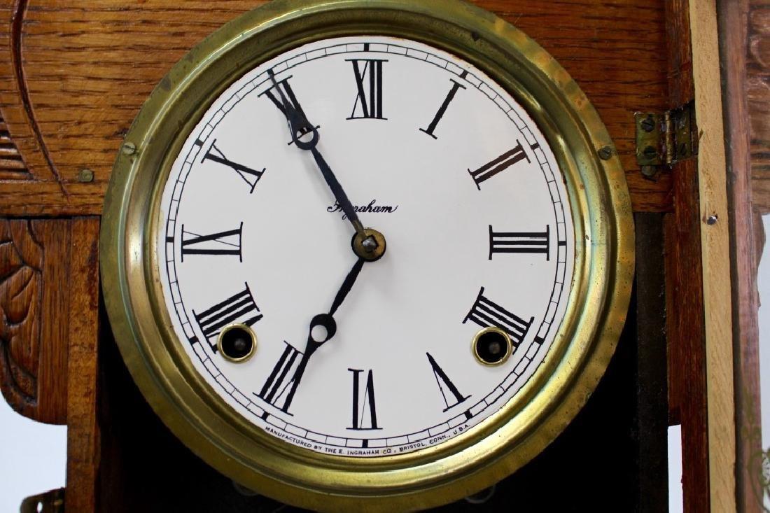 ANTIQUE E. INGRAHAM CARVED OAK GINGERBREAD CLOCK - 3