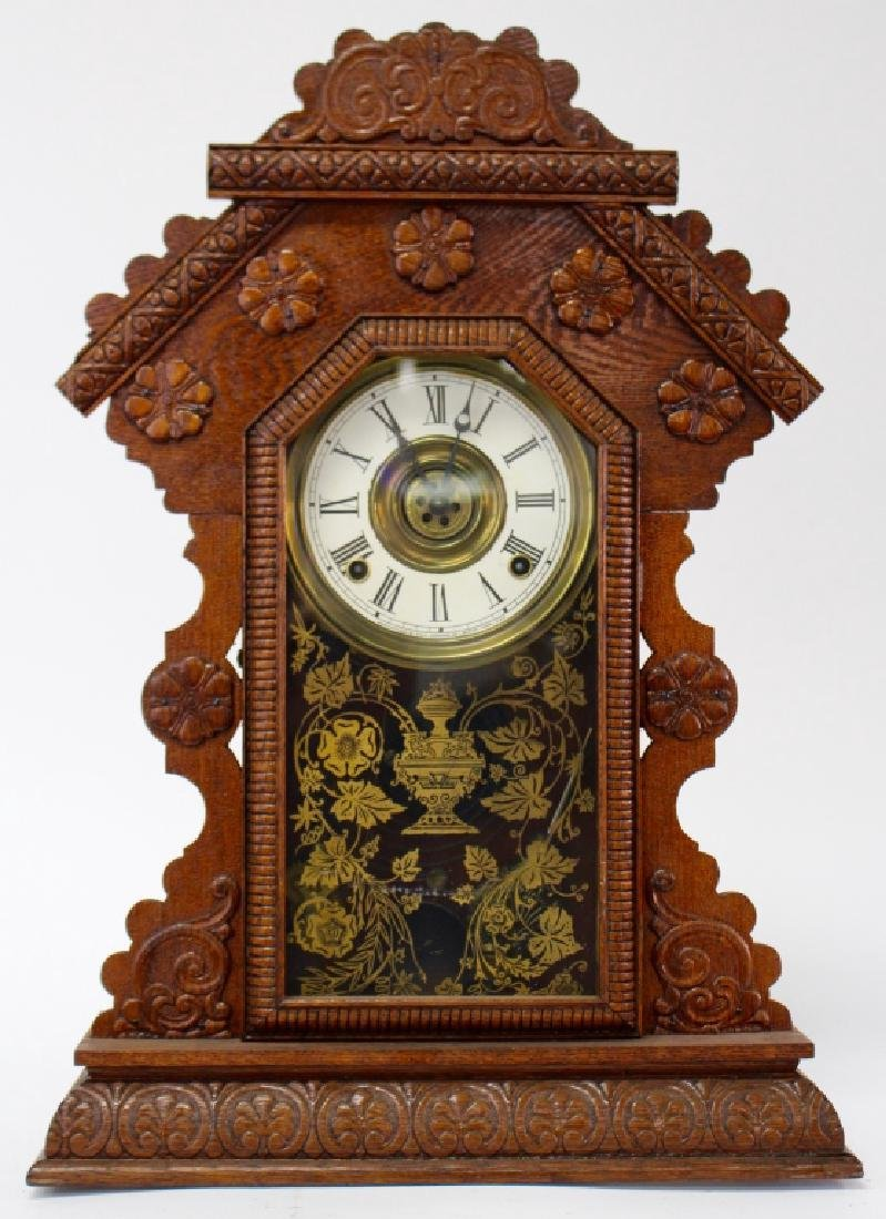 ANTIQUE E. INGRAHAM CARVED OAK GINGERBREAD CLOCK