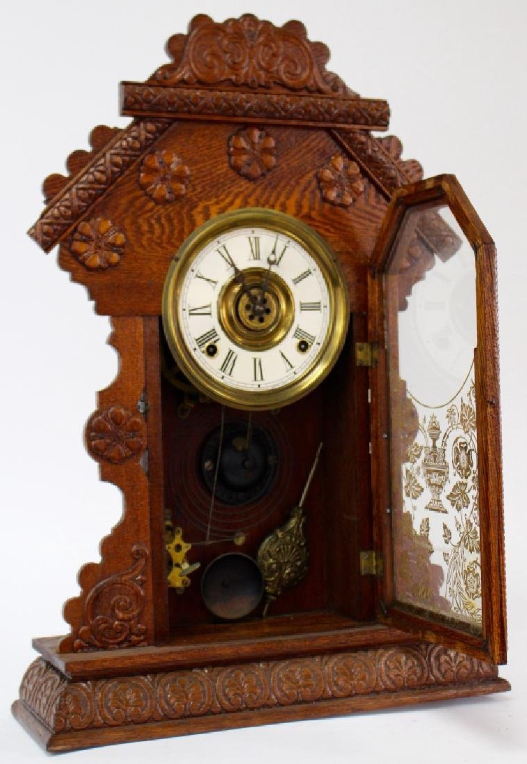 ANTIQUE E. INGRAHAM CARVED OAK GINGERBREAD CLOCK - 2
