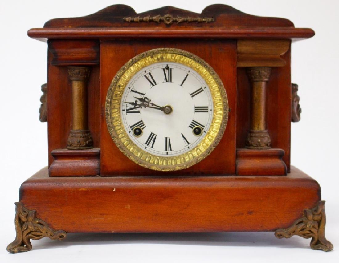 ANTIQUE AMERICAN WALNUT CASE MANTEL CLOCK
