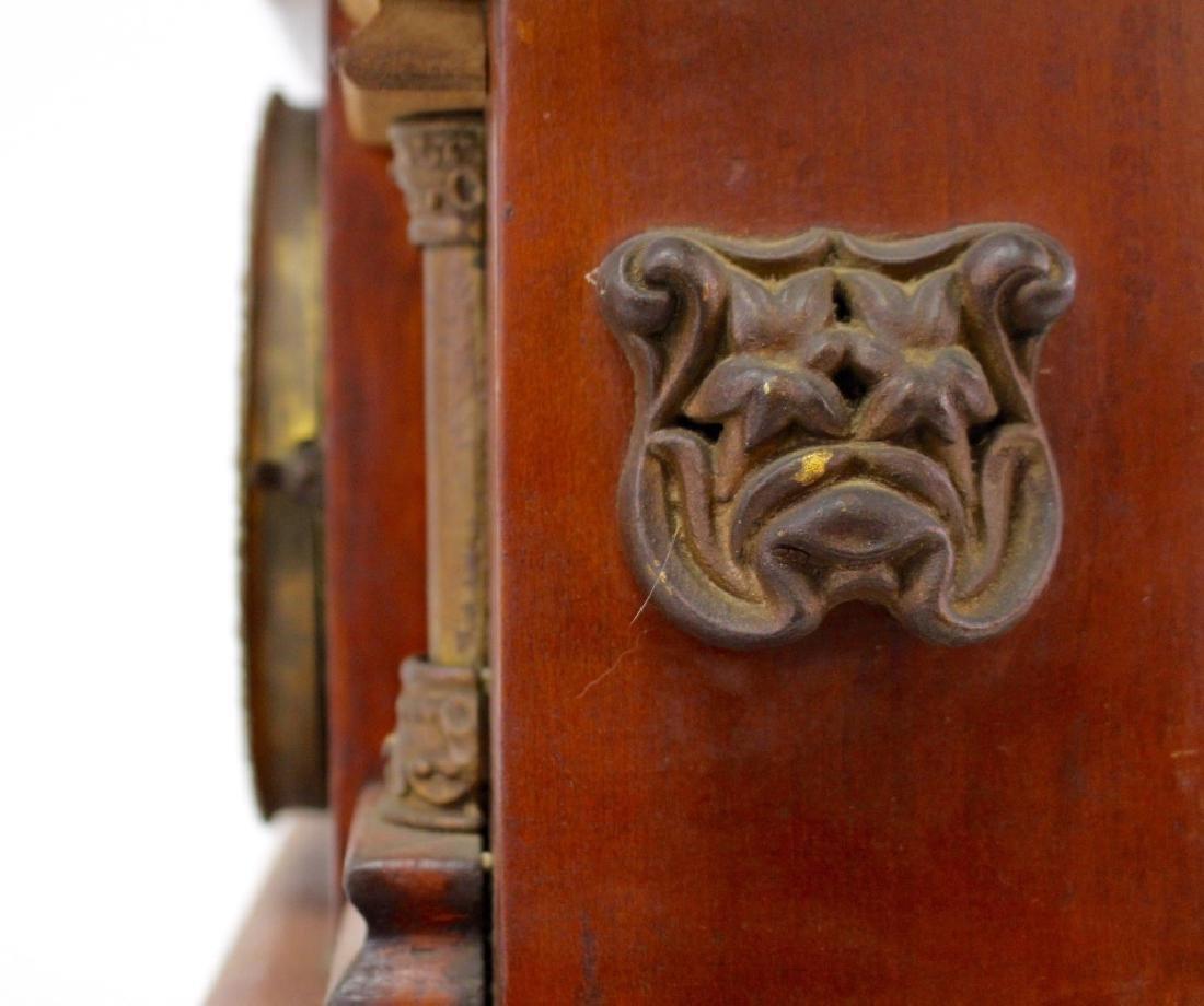 ANTIQUE AMERICAN WALNUT CASE MANTEL CLOCK - 3