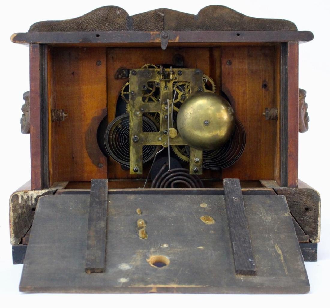 ANTIQUE AMERICAN WALNUT CASE MANTEL CLOCK - 4