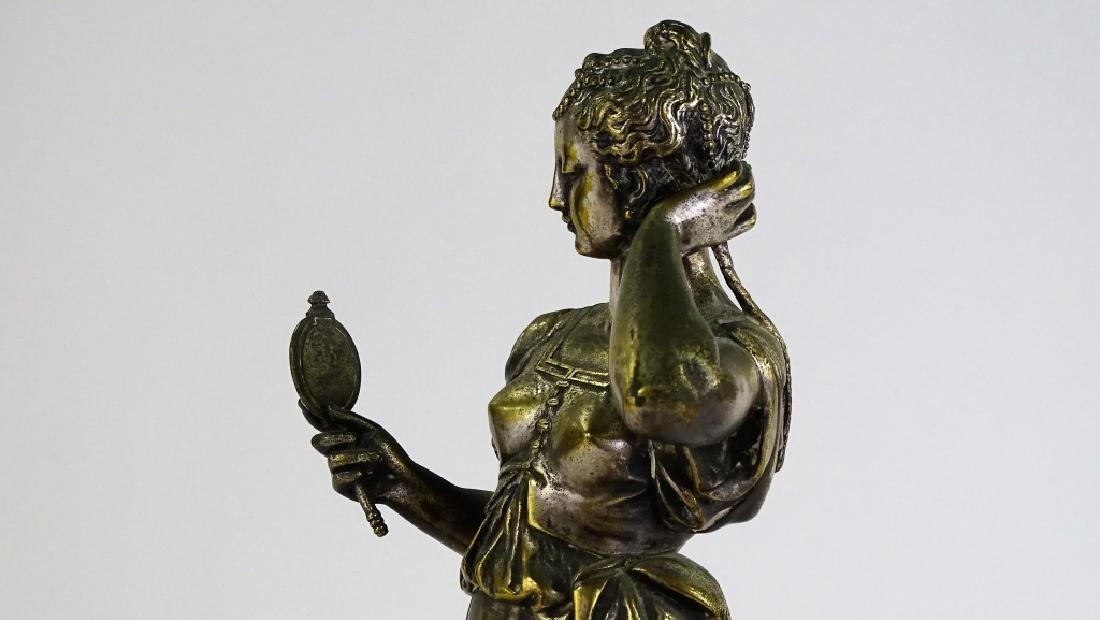 ANTIQUE SILVER OVER BRONZE SCULPTURE OF WOMAN - 4