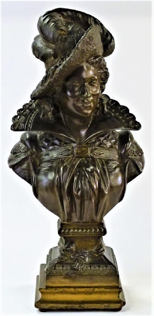 VTG FRENCH PATINATED METAL BUST OF 16TH C. MAN