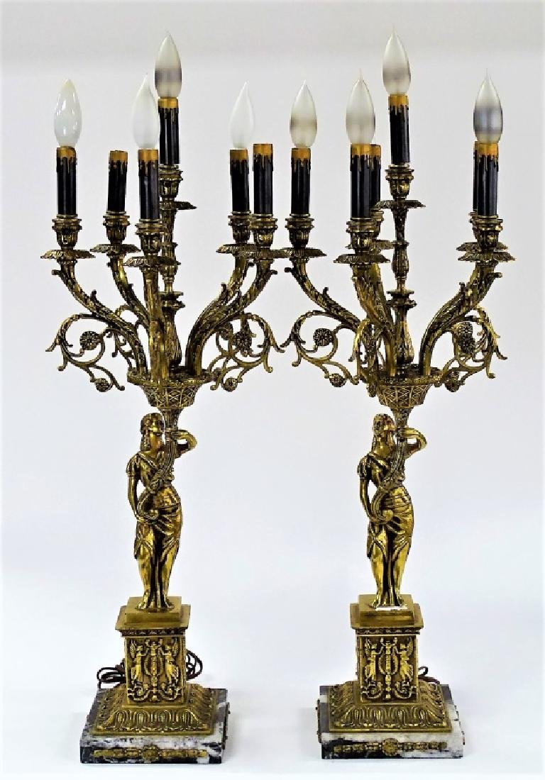 PR ANTIQUE DORE BRONZE SIX LIGHT CANDELABRA LAMPS