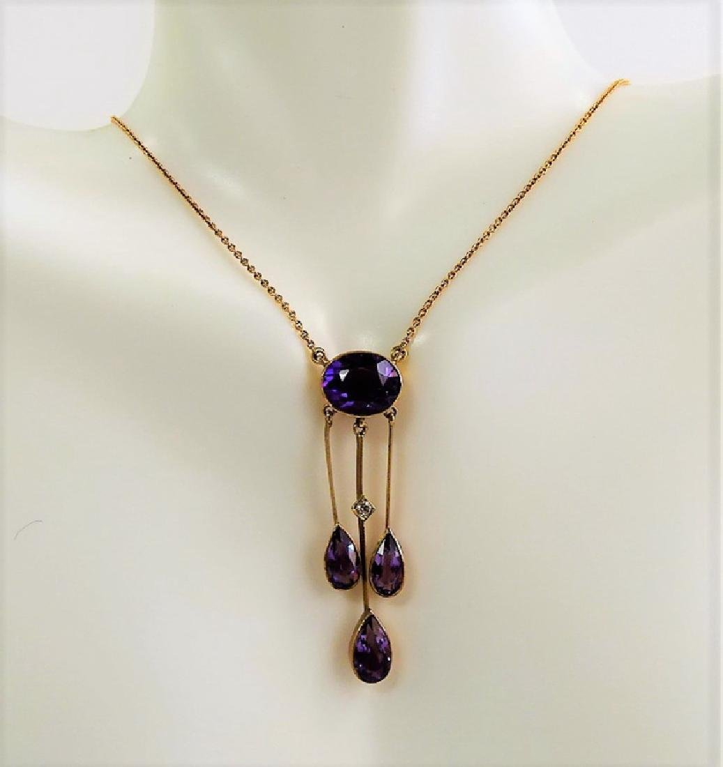 ANTIQUE 10KT YG AND AMETHYST NECKLACE