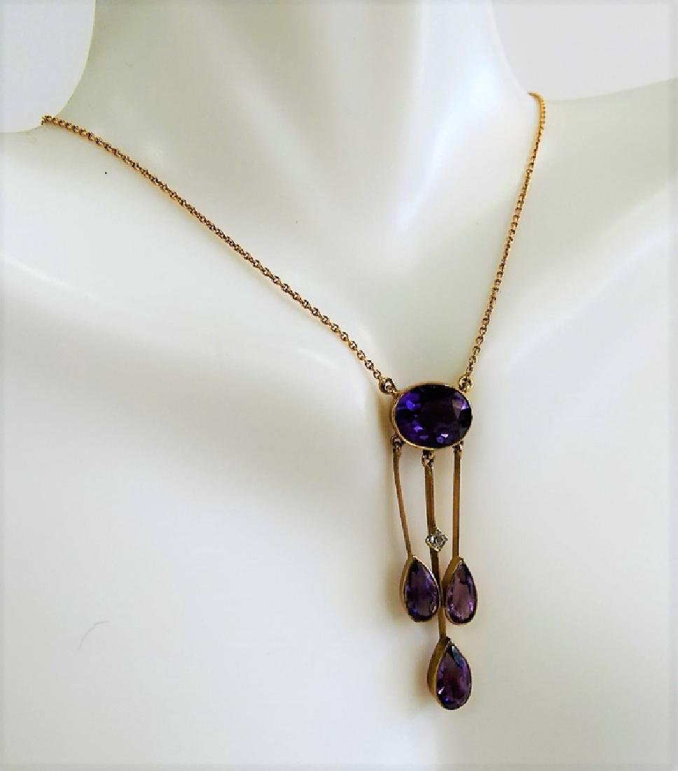 ANTIQUE 10KT YG AND AMETHYST NECKLACE - 2