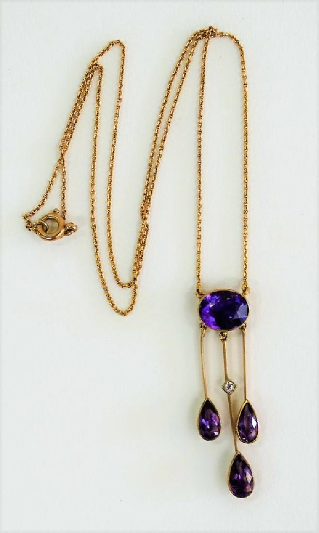 ANTIQUE 10KT YG AND AMETHYST NECKLACE - 3