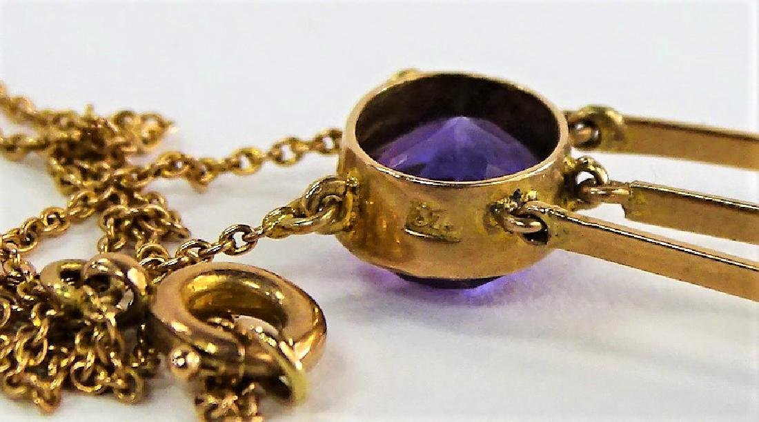 ANTIQUE 10KT YG AND AMETHYST NECKLACE - 5