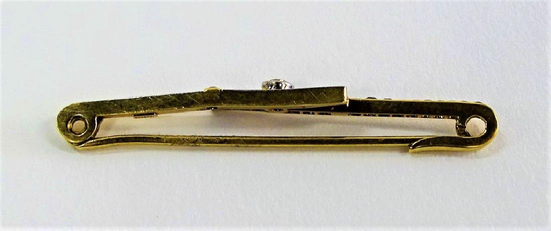 14KT Y GOLD DIAMOND & SAPPHIRE BAR PIN - 2