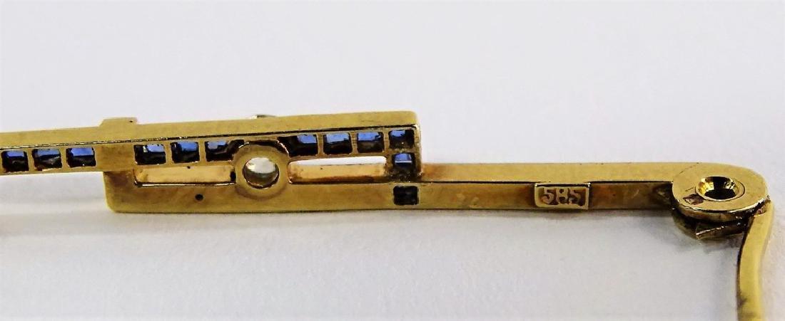 14KT Y GOLD DIAMOND & SAPPHIRE BAR PIN - 3