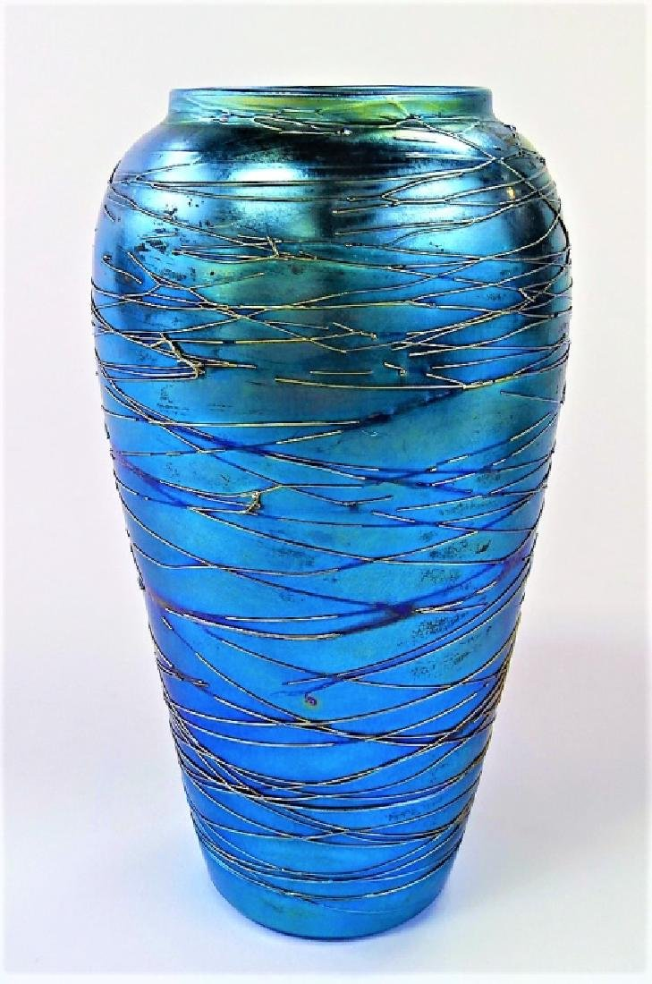 DURAND AMERICAN THREADED ART GLASS VASE SIGNED