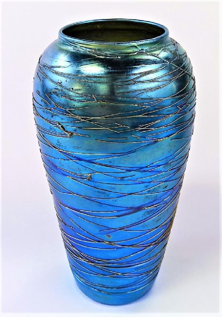 DURAND AMERICAN THREADED ART GLASS VASE SIGNED - 2