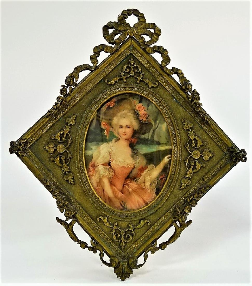 ANTIQUE MINIATURE IN FABULOUS FRENCH BRASS FRAME