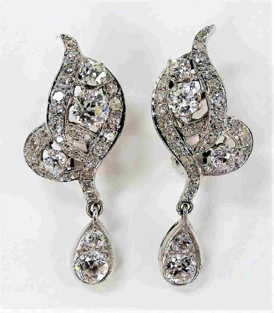 PR LADIES ELEGANT 14KT WG DIAMOND ESTATE EARRINGS