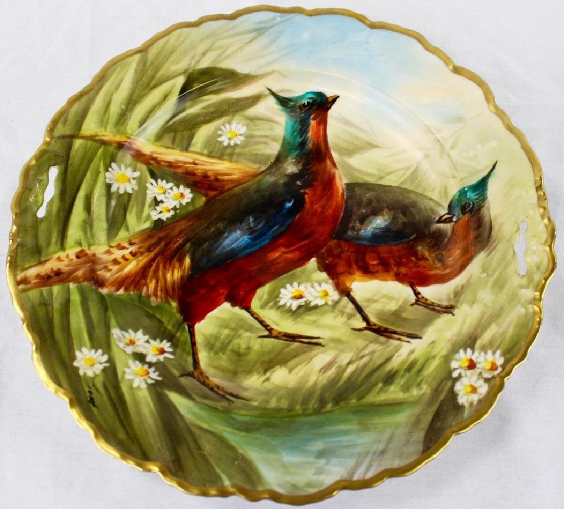 ANTIQUE FRENCH H/P PORCELAIN BIRD CHARGER