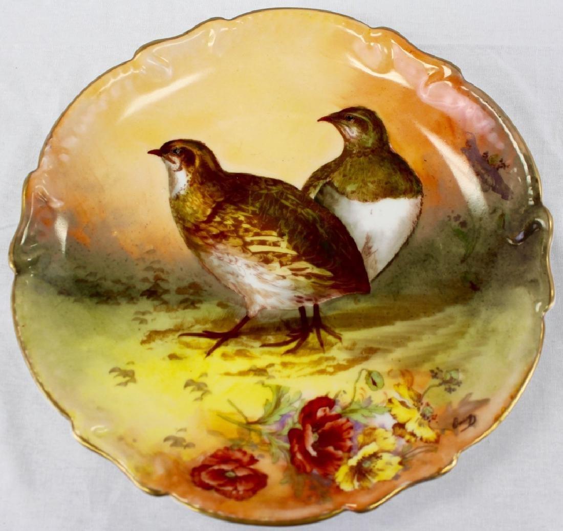 ANTIQUE ROYAL LIMOGES H/P PORCELAIN BIRD CHARGER