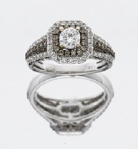 14kt Wg Champagne & White Diamond Engagement Ring