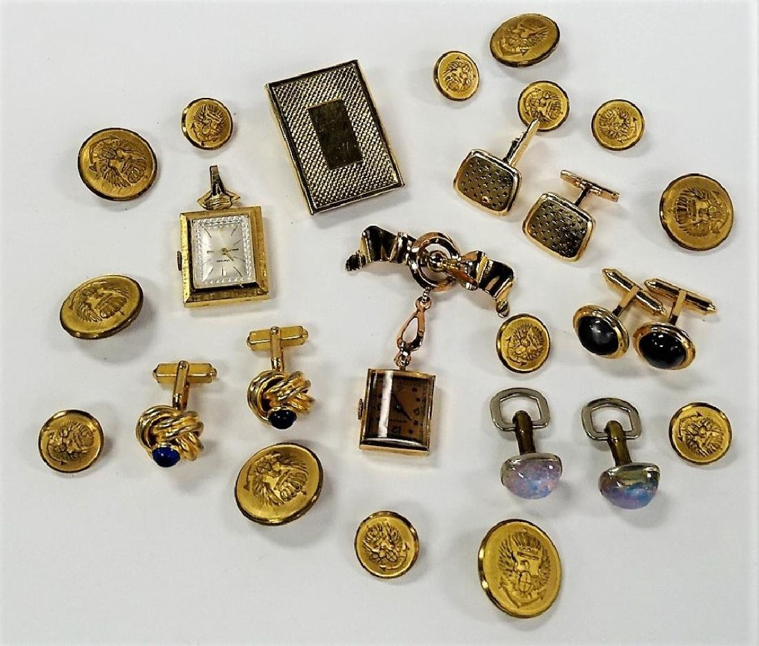 LARGE LOT OF COSTUME LINKS AND LAPEL WATCHES