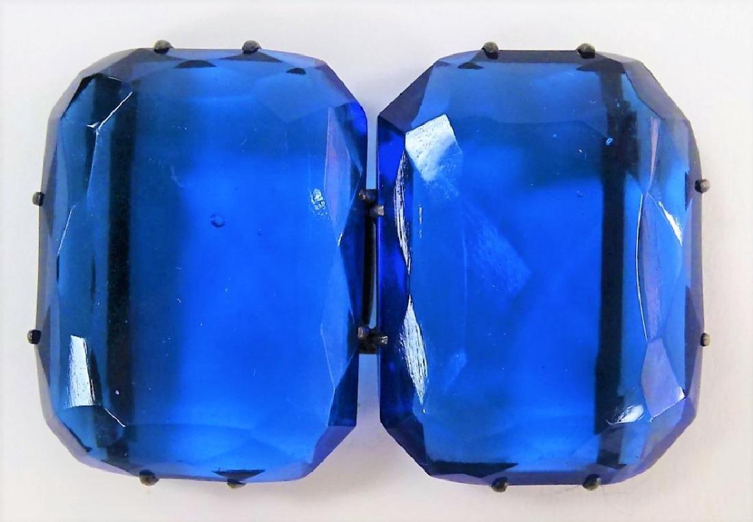VINTAGE SILVER W/ BLUE STONE BELT BUCKLES