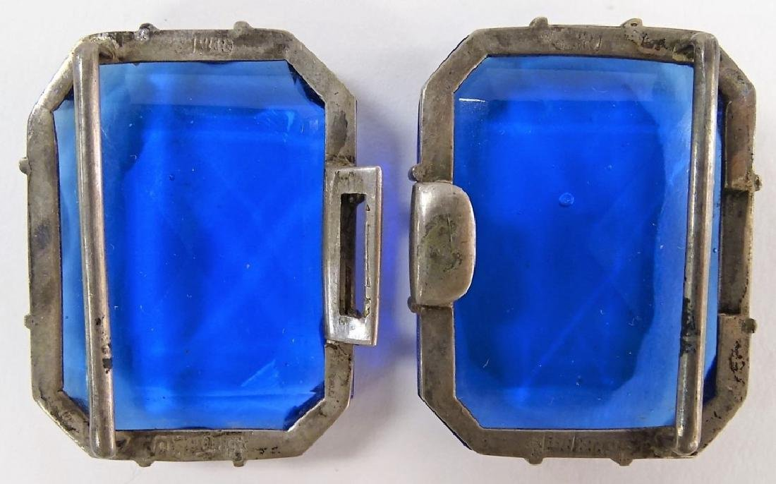 VINTAGE SILVER W/ BLUE STONE BELT BUCKLES - 2
