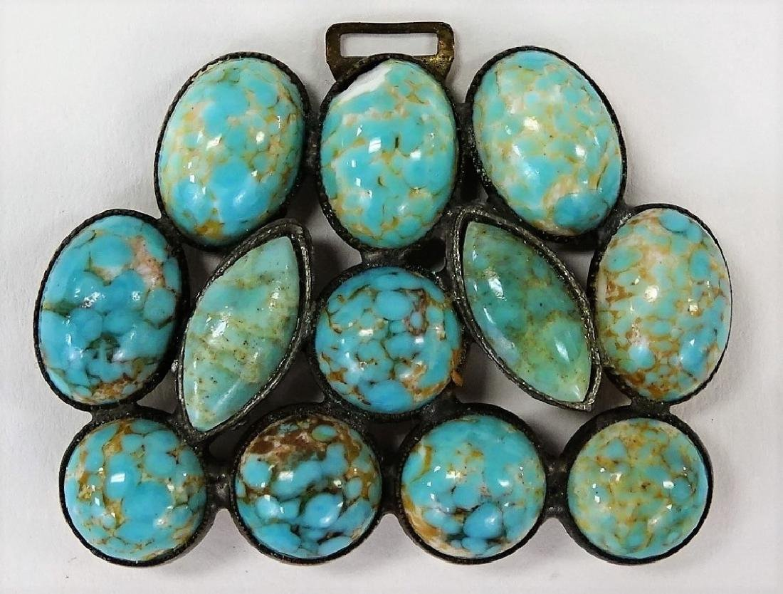 CZECH DECO TURQUOISE BUCKLE PIN