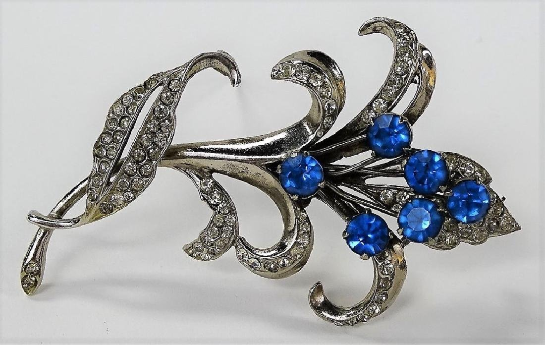 LARGE STERLING & FAUX SAPPHIRE FLORAL BROOCH