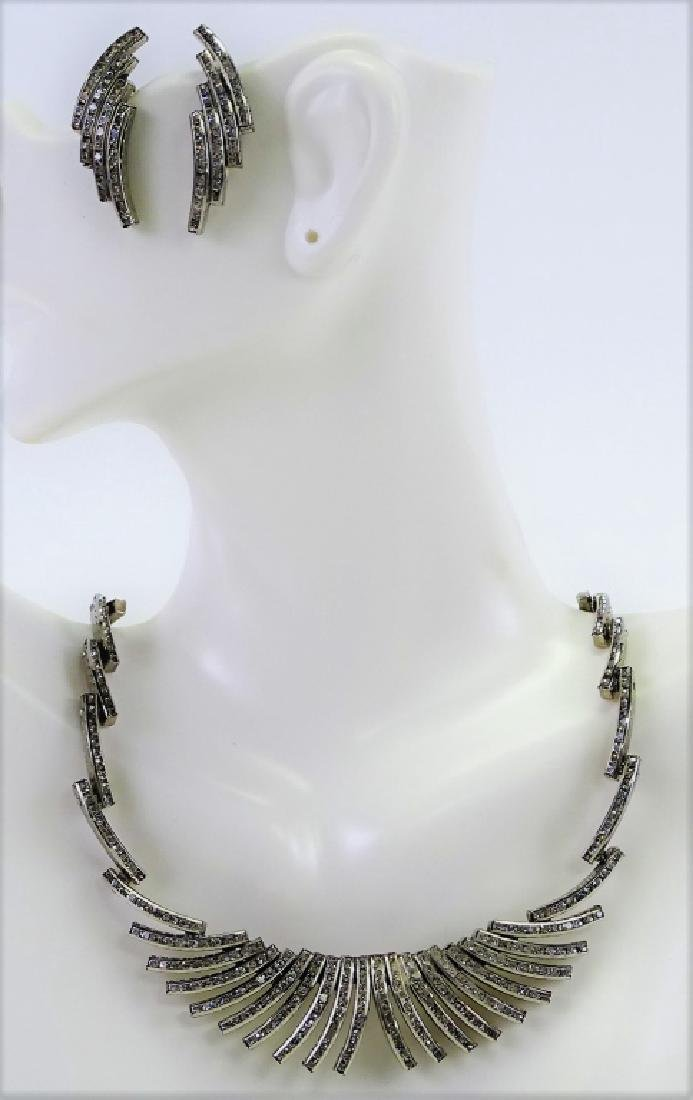 GERMAN SILVER NECKLACE EARRING SUITE