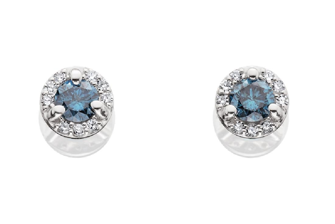 LADIES 14KT WG BLUE & WHITE DIAMOND STUD EARRINGS