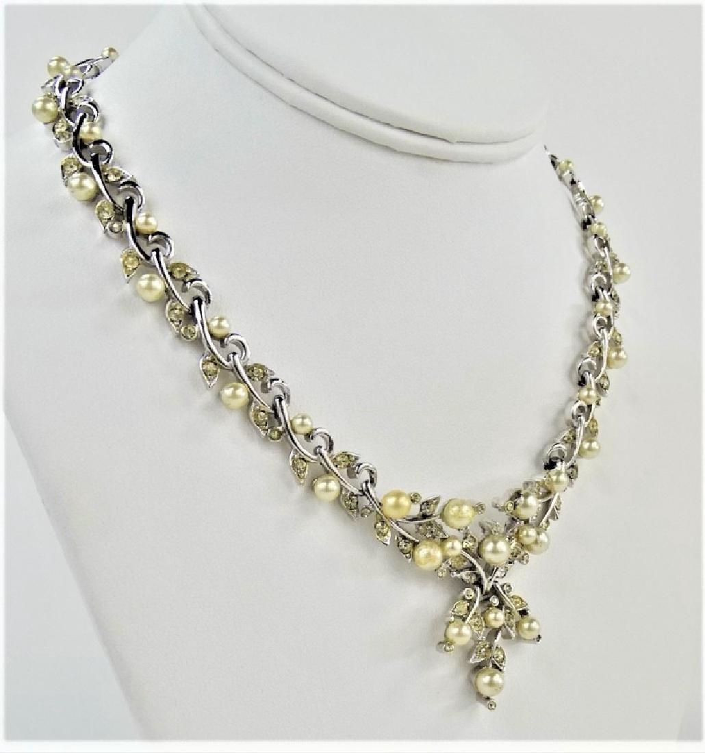 LOVELY KRAMER OF NY FAUX PEARL SILVER NECKLACE - 2