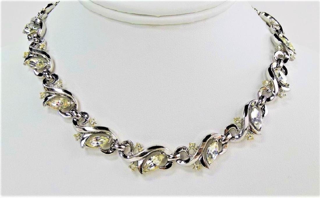 BEAUTIFUL TRIFARI SILVER TONE RHINESTONE NECKLACE