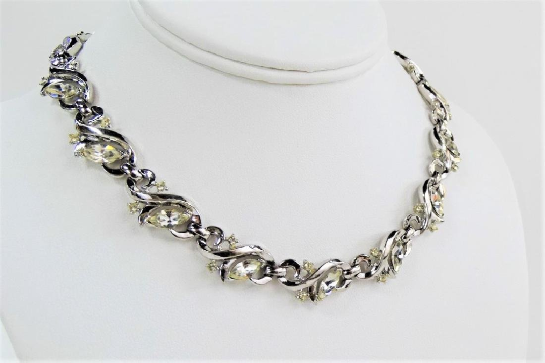 BEAUTIFUL TRIFARI SILVER TONE RHINESTONE NECKLACE - 2