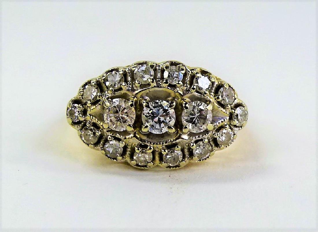 LADIES FANCY 14KT YG DIAMOND CLUSTER RING