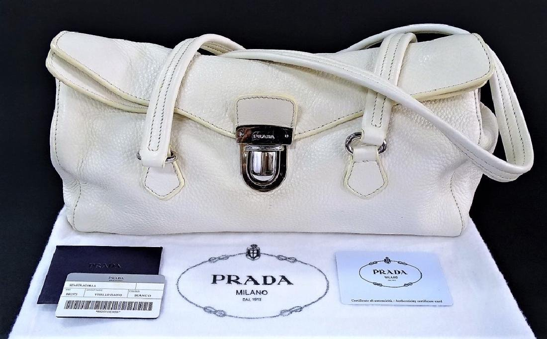 PRADA VITELLO DAINO ITALIAN WHITE LEATHER HANDBAG