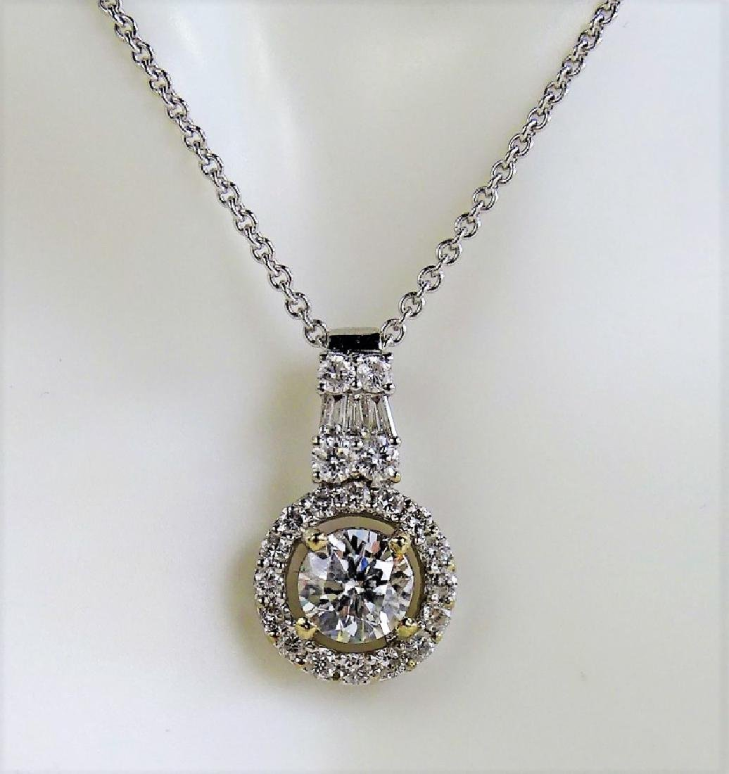 LADIES 14KT WG 1.75CT DIAMOND PENDANT NECKLACE