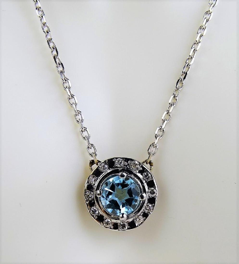 LADIES FANCY 14KT WG BLUE TOPAZ & DIAMOND NECKLACE