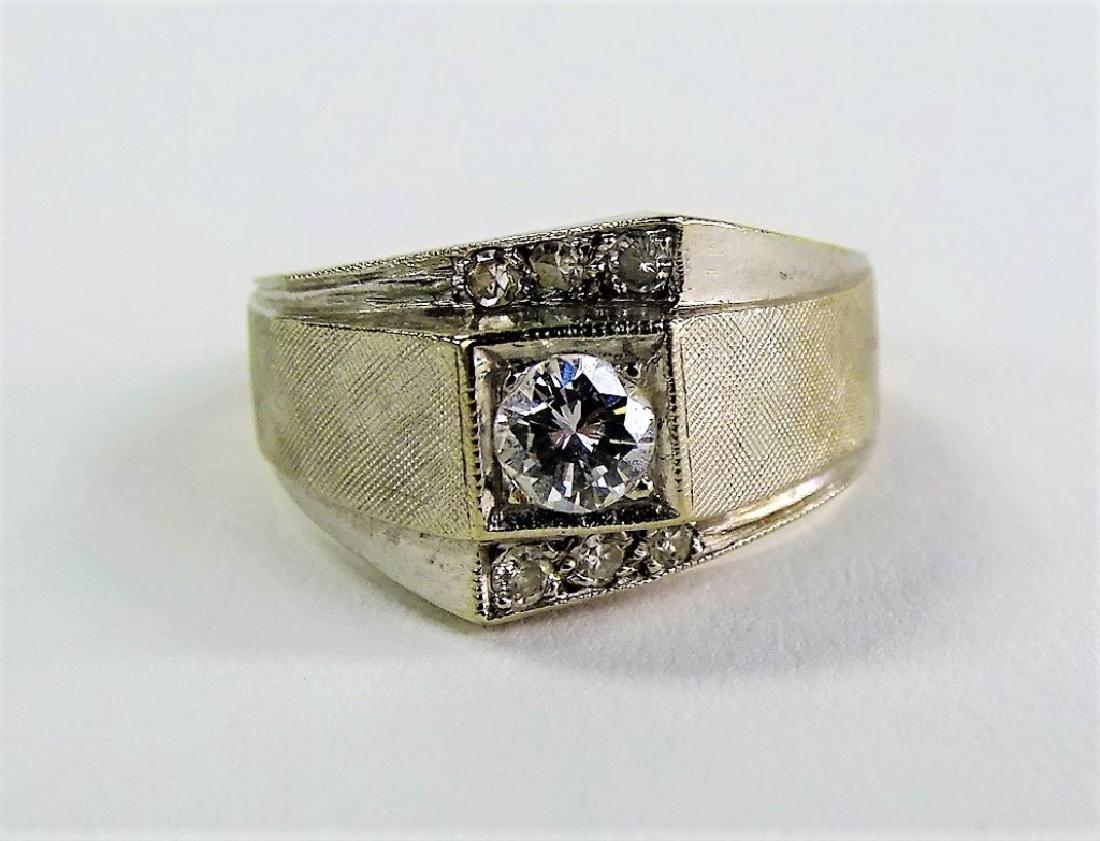 VINTAGE 14KT WHITE GOLD & DIAMOND DECO RING