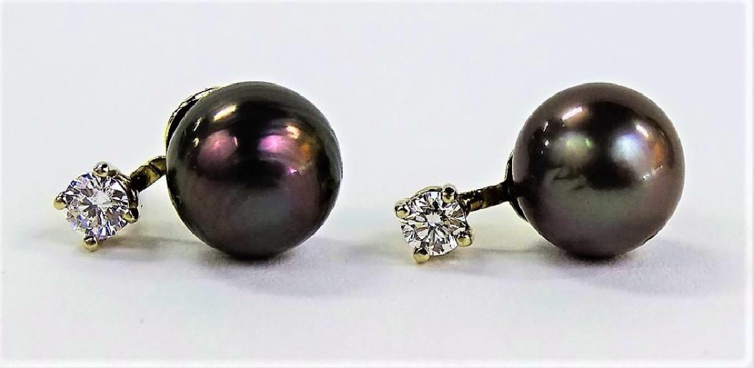 PR 14KT WG TAHITIAN PEARL & DIAMOND EARRINGS