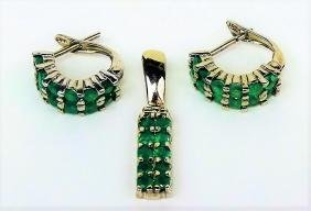 COLOMBIAN 3CT EMERALD SUITE NEW CONDITION