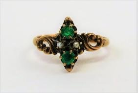 VICTORIAN 14KT Y GOLD AND EMERALD LADIES RING