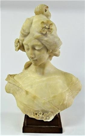 LARGE & HEAVY CARVED ALABASTER/MARBLE BUST LADY