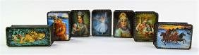 7 CONTEMPORARY HAND PAINTED RUSSIAN LACQUER BOXES