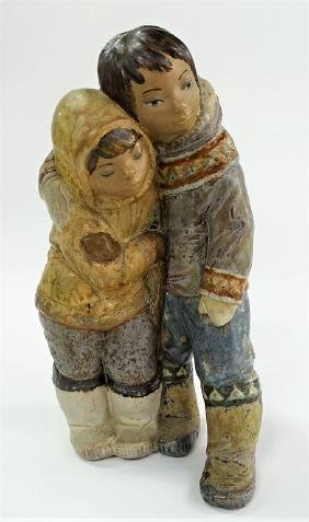 LLADRO GRES ESKIMO BOY & GIRL PORCELAIN FIGURINE