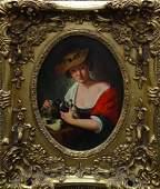 19TH CENTURY EUROPEAN SCHOOL GIRL WITH BIRDS