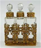 ANTIQUE FRENCH TRIPLE PERFUME BOTTLE CLUSTER